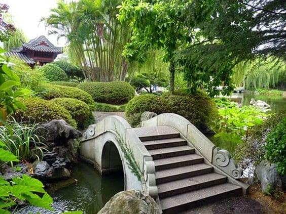 A a spectacular bridge above a pond, surrounded by plants and trees