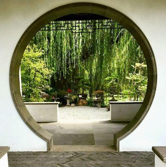 Garden moon gate made with traditional stone