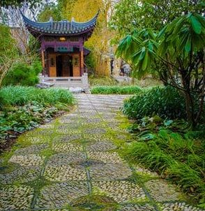 Chinese pergola with DIY stepping stones