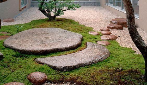 Sun and moon shaped meditation stone