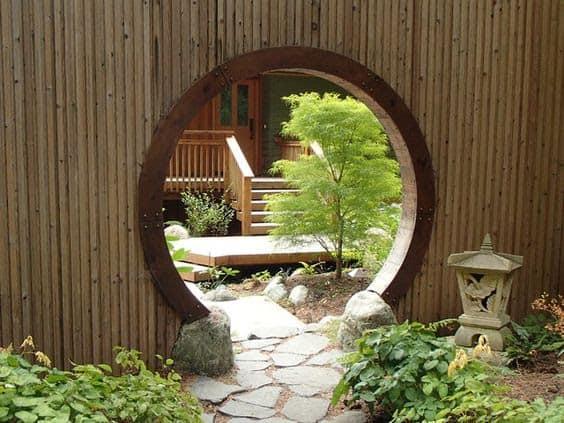 Moon door in bamboo wall