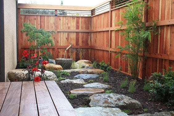 Small Asian garden with stepping stones