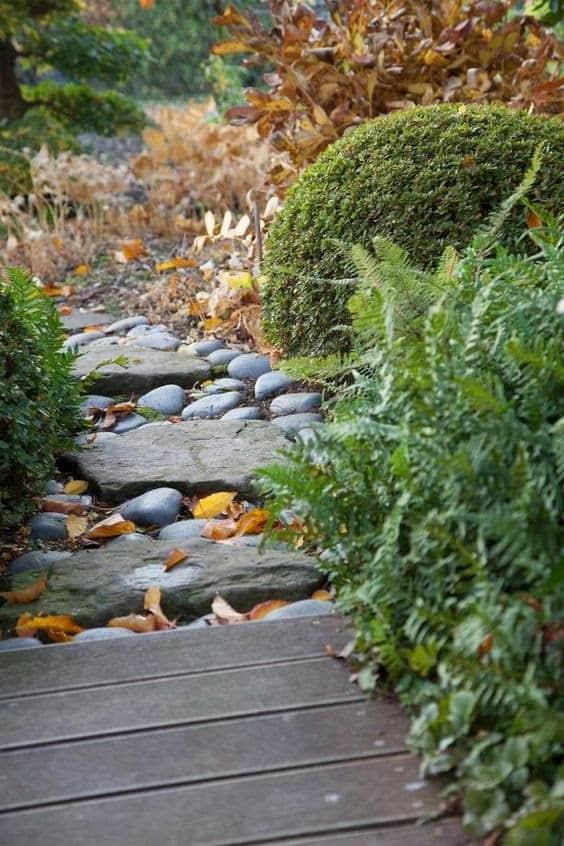 Stone and pebble garden path