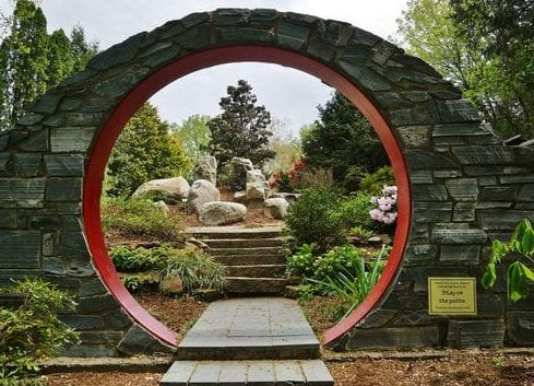 Red moon gate creating an attractive entrance