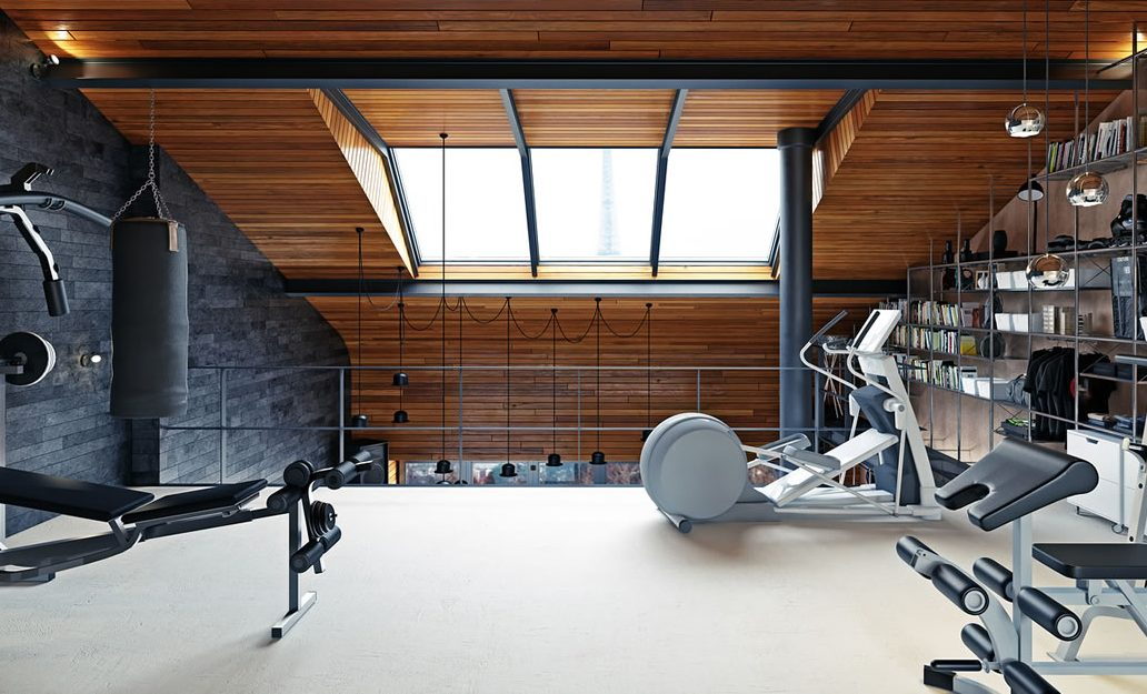 A garden home gym with second floor for cooling down