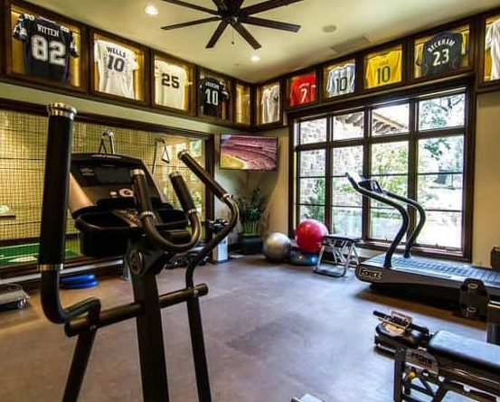 Jersey in frames for garden gym decorations
