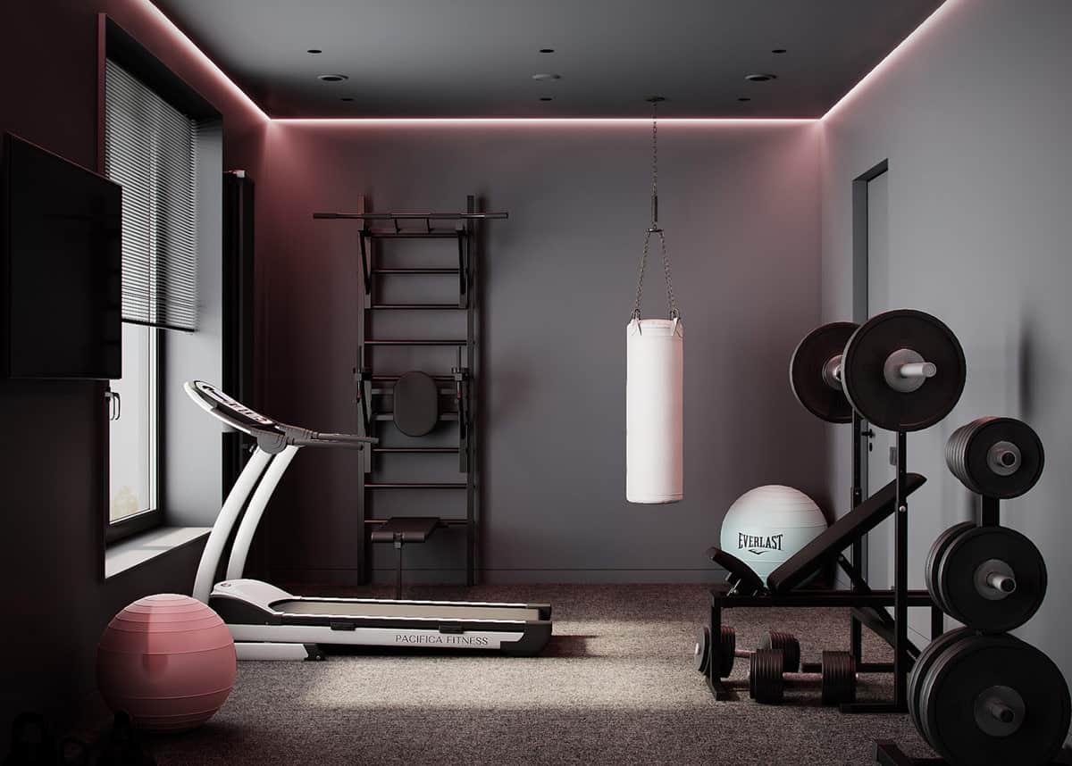 Brown and black garden gym interior with LED strip lights