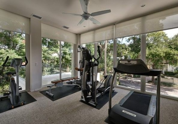 Spacious outdoor gym with big windows around