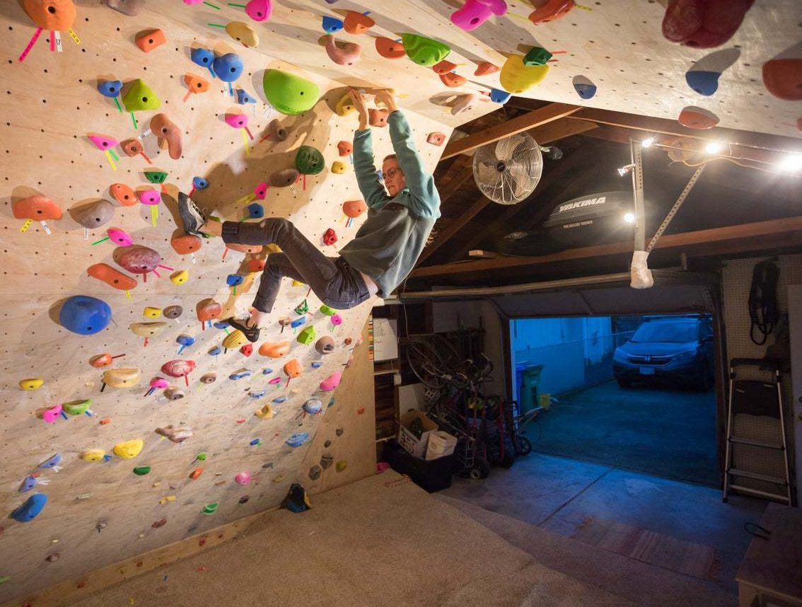 Garage gym with indoor wall climbing
