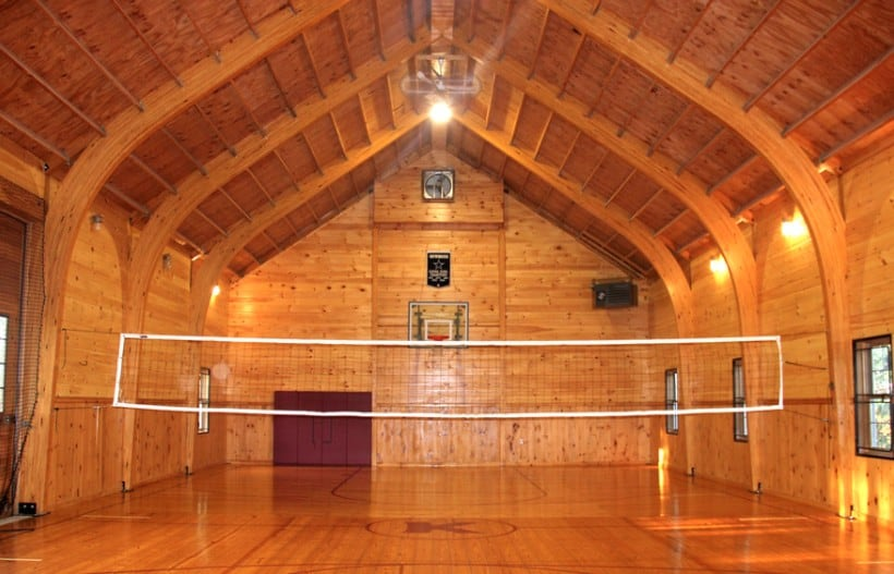 A barn converted into a gym and sports court