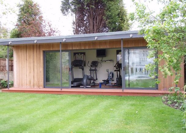 A large garden building used as a personal gym