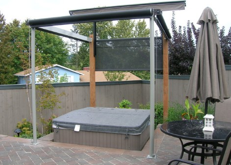 Outdoor hot tub with a canopy cover