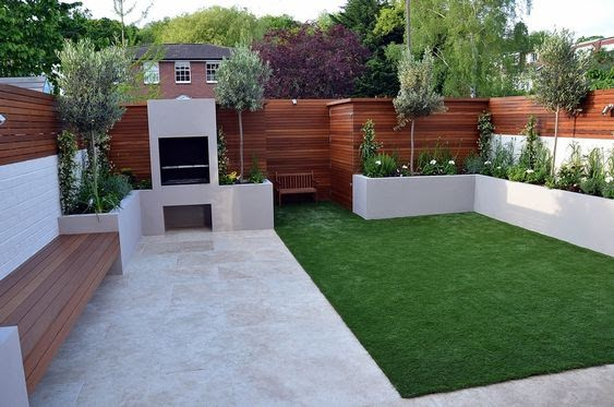 A combination of white paint and cedar wood in a contemporary garden