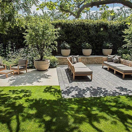 A large garden divided into different spaces for different uses