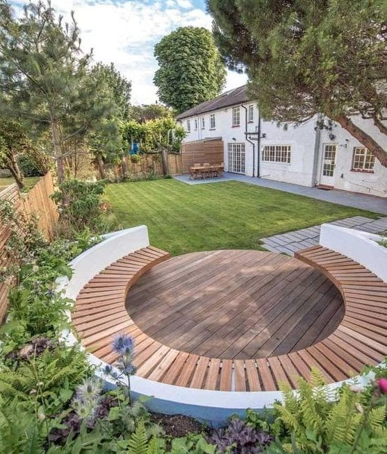 Large garden with seating deck