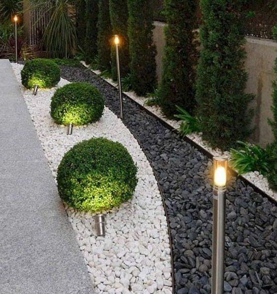 Modern side pebble decor and lighting