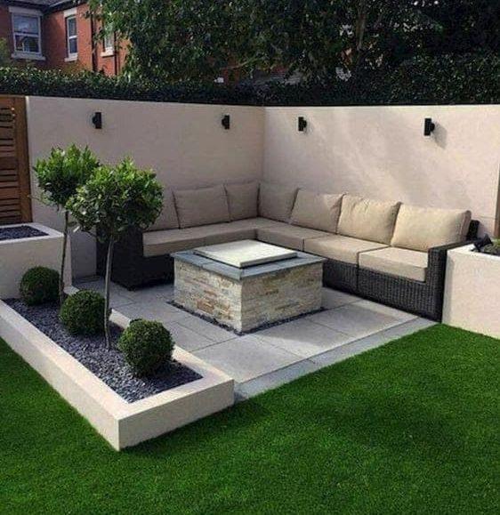 Modern corner with fire pit and stylish corner sofa