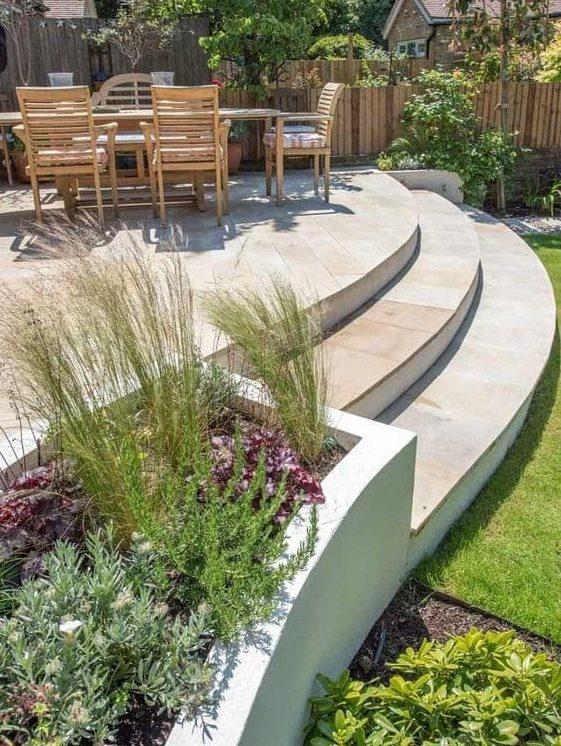 Modern raised deck with sleek staircase