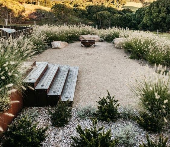 Pebbles and lush natives keeping the garden natural