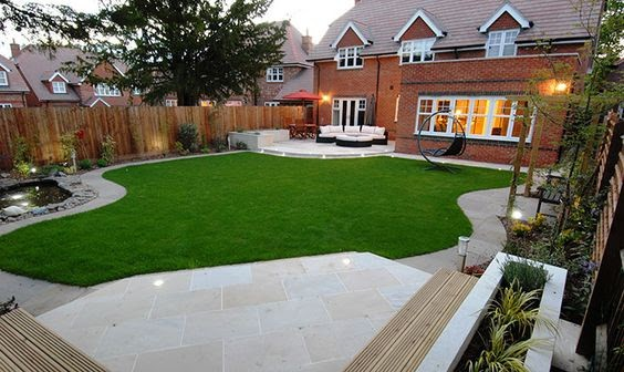 A satin finish teamed with a sleek wooden bench for a modern patio area