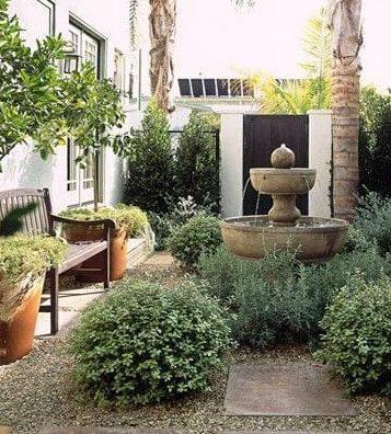 Narrow garden with fountain