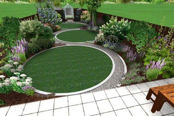 Long garden with round shapes for a wider feel