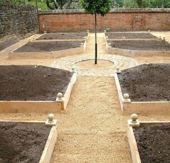 Formal garden with well-kept square beds for a vegetable garden