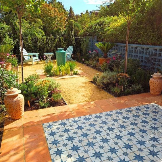 Moroccan courtyard with bold colours floor tiles