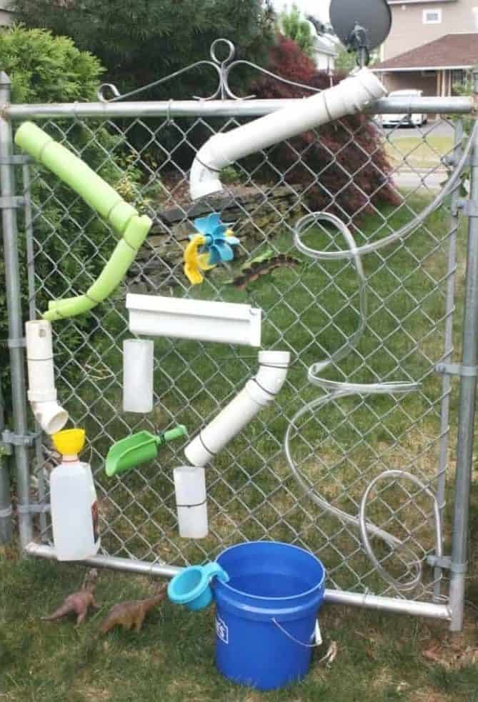 DIY water wall on fence