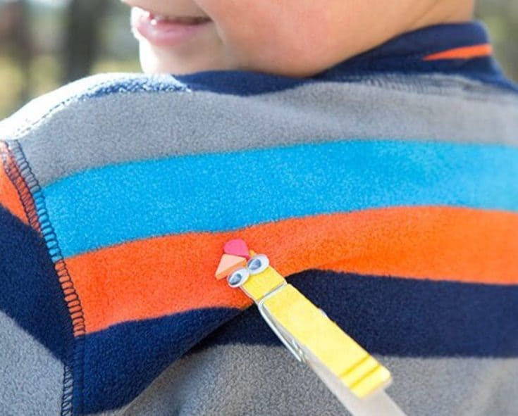 A clothes pin used for clothespin tag game