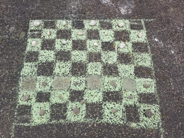 Chalk checkers on the floor