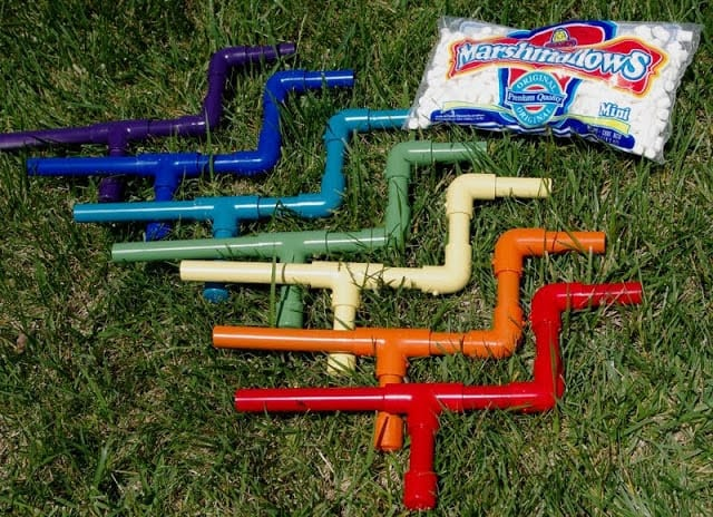 Marshmallow shooters outdoor game