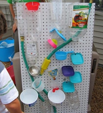 DIY water wall made from old plastics and hoses