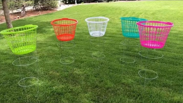 Frisbee golf setup made from some old laundry baskets