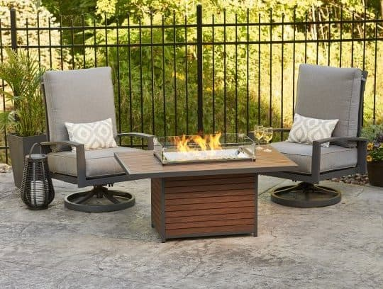 Contemporary garden furniture with a functional fire pit at the centre