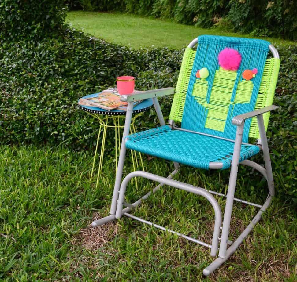 Colourful woven lawn chair