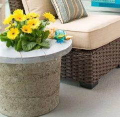 Concrete side table planter