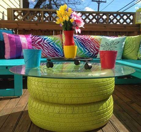 2-tier patio tables made from old tyres