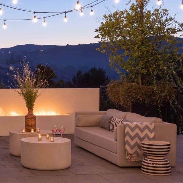 Grey cushion dining set under the lights