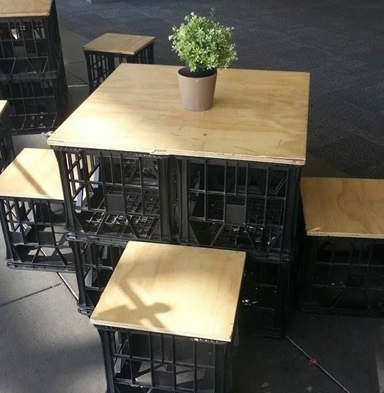DIY milk crate stools and table