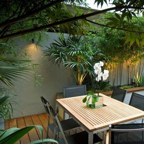 Wooden deck and garden bed