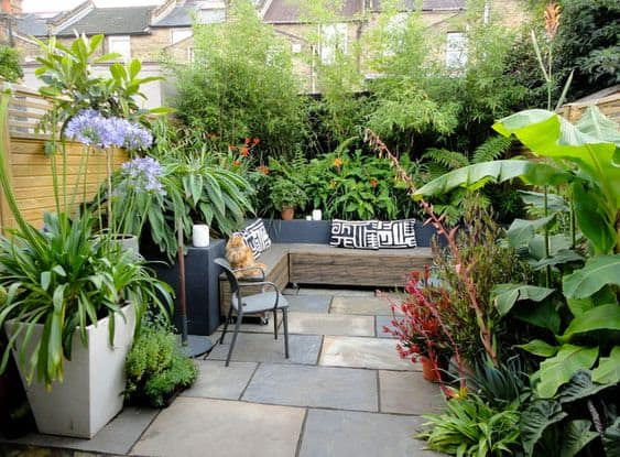 Tiny garden with tropical plants and an outdoor seating area