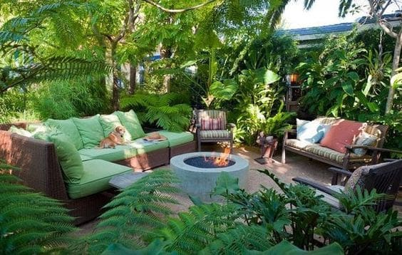 Jungle garden with fire pit and outdoor saeting area