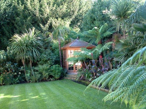 Corner gazebo in jungle garden
