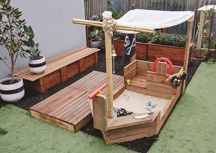 DIY pirate ship playground with sandpit