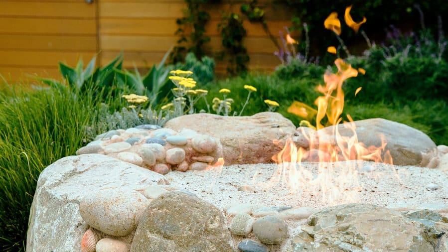 DIY beach cobble fire pit