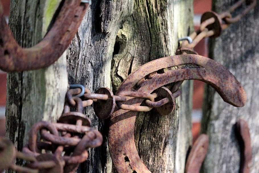 Wooden garden fence with rusty chain