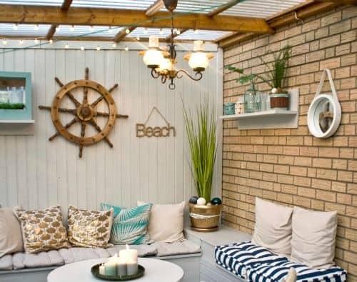 Nautical inspired garden lounge area