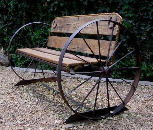 Wagon wheel garden bench style