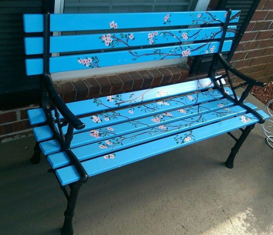 Customised artistic garden bench